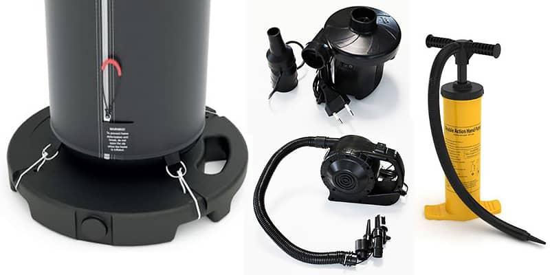 type de gonfleur : pompe à main ou gonfleur électrique jusqu'à 1200w