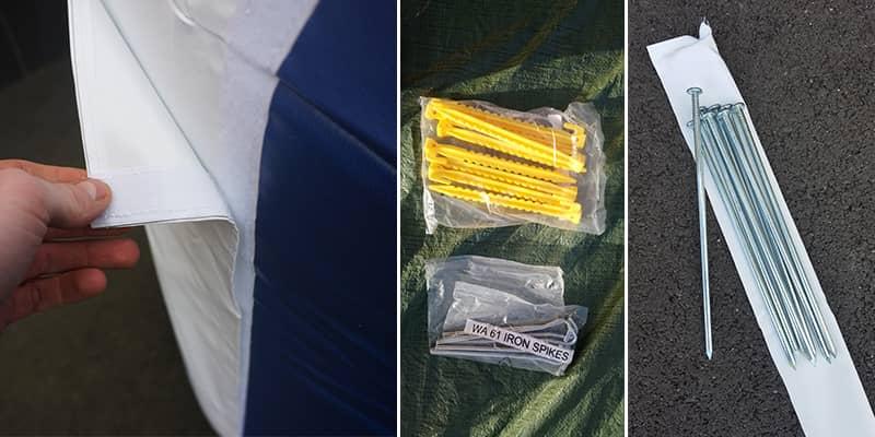accessoires pour arche publicitaire : velcro, sardine de fixation au sol